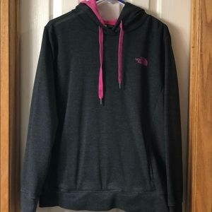 Gray and pink North Face Hoodie